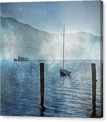 Boats In The Fog Canvas Print by Joana Kruse
