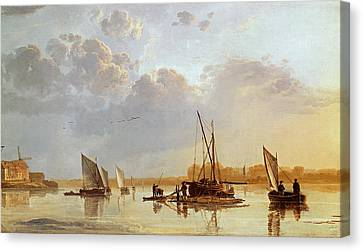 Boats On A River Canvas Print by Aelbert Cuyp