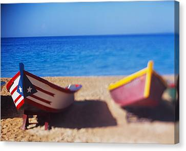 Boats On The Beach, Aguadilla, Puerto Canvas Print by Panoramic Images