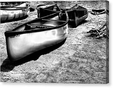 Boats On The Sand Canvas Print by David Patterson