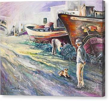Boats Yard In Villajoyosa Spain Canvas Print by Miki De Goodaboom