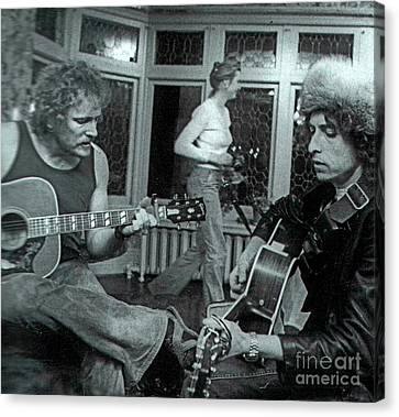 Bob Dylan American Icon And Gordon Lightfoot Canadian Music Icon Jamming Canvas Print by Pd