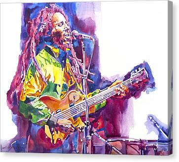 Bob Marley And Les Paul Gibson Canvas Print by David Lloyd Glover