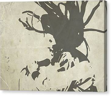 Bob Marley Grey Canvas Print by Naxart Studio