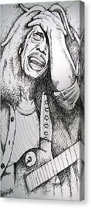 Bob Marley In Ink Canvas Print by Joshua Morton