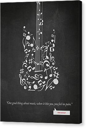 Bob Marley Quote - One Good Thing About Music... 02 Canvas Print by Aged Pixel