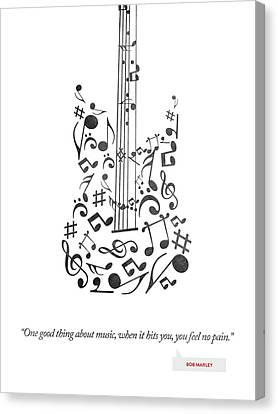 Bob Marley Quote - One Good Thing About Music... Canvas Print by Aged Pixel
