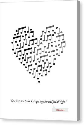 Bob Marley Quote - One Love, One Heart ... Canvas Print by Aged Pixel