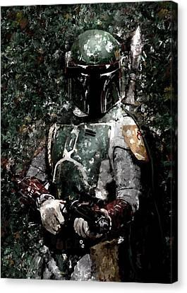 Boba Fett Portrait Art Painting Signed Prints Available At Laartwork.com Coupon Code Kodak Canvas Print by Leon Jimenez