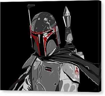 Boba Fett Star Wars Pop Art Canvas Print by Paul Dunkel