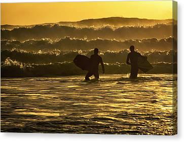 Body Surfers On The Coast Of Kodiak Canvas Print by Marion Owen