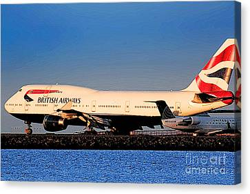 Boeing 747-436 British Airways Baw At Sfo Ready For Take-off Canvas Print by Wernher Krutein