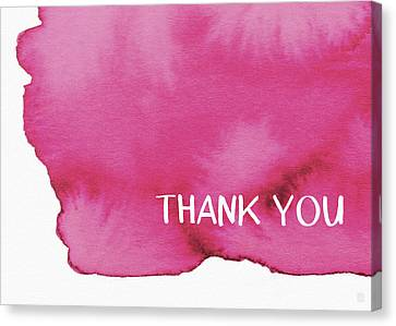Bold Pink And White Watercolor Thank You- Art By Linda Woods Canvas Print by Linda Woods