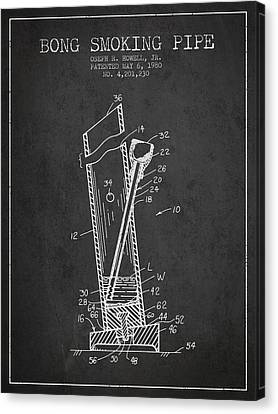 Bong Smoking Pipe Patent 1980 - Charcoal Canvas Print by Aged Pixel