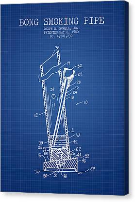 Bong Smoking Pipe Patent1980 - Blueprint Canvas Print by Aged Pixel