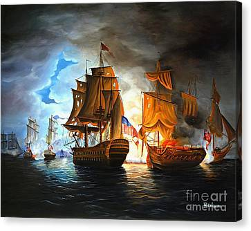 Bonhomme Richard Engaging The Serapis In Battle Canvas Print by Paul Walsh