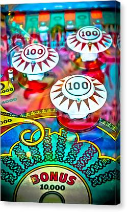 Bonus Points - Pinball Canvas Print by Colleen Kammerer
