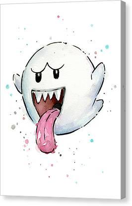 Boo Ghost Watercolor Canvas Print by Olga Shvartsur
