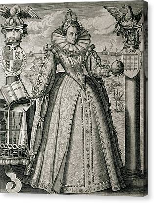 Book Frontispiece Celebrating Queen Elizabeth I's Happy And Prosperous Reign Canvas Print by English School