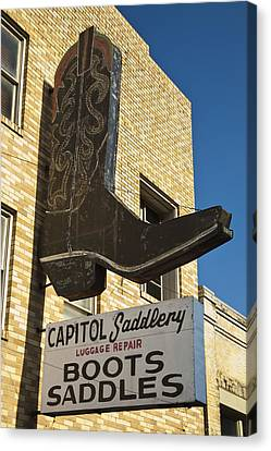 Boot Sign Canvas Print by Mark Weaver