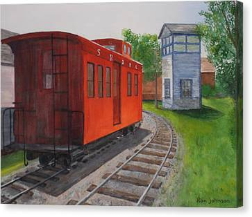 Boothbay Caboose Canvas Print by Ronald e Johnson