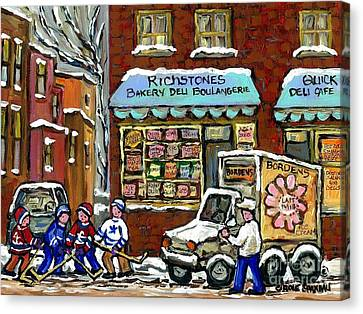 Borden's Milkman Delivery Truck At Richstone's Bakery Montreal Hockey Paintings Best Canadian Art  Canvas Print by Carole Spandau