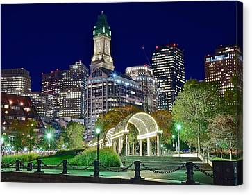 Boston Above Christopher Columbus Park Canvas Print by Frozen in Time Fine Art Photography