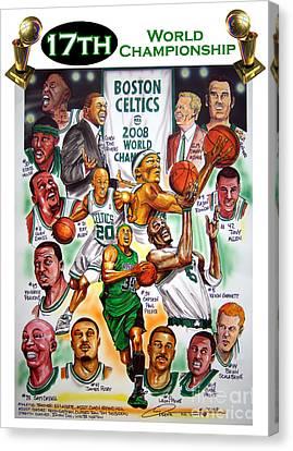 Boston Celtics World Championship Newspaper Poster Canvas Print by Dave Olsen