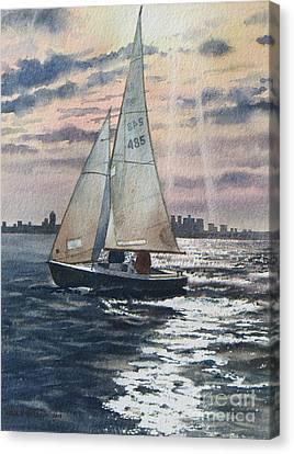 Boston Harbor Canvas Print by Karol Wyckoff