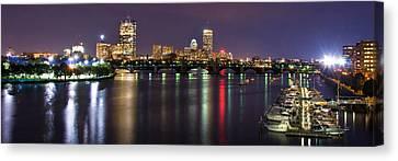 Boston Harbor Nights-panorama Canvas Print by Joann Vitali