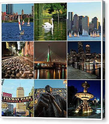 Boston Ma Nine Image Collage 1 Canvas Print by Toby McGuire