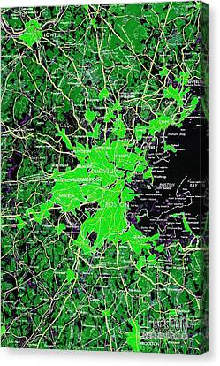 Boston Massachusetts 1948 Green Map Canvas Print by Pablo Franchi