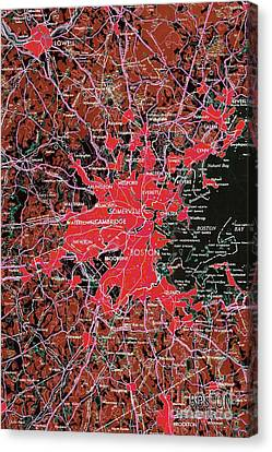 Boston Massachusetts 1948 Red Old Map Canvas Print by Pablo Franchi