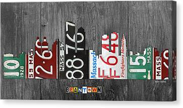 Boston Massachusetts Beantown Vintage License Plate Art City Skyline Canvas Print by Design Turnpike