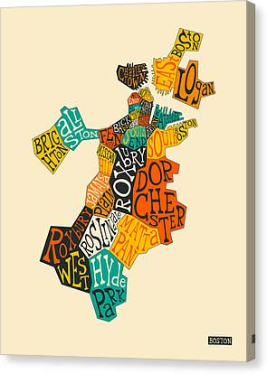 Boston Neighborhoods Map Typography Canvas Print by Jazzberry Blue