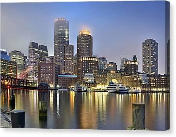 Boston On A Foggy Evening Canvas Print by Brendan Reals