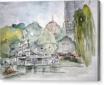 Boston Public Gardens Bridge Canvas Print by Julie Lueders