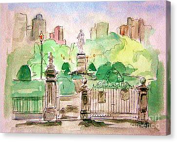 Boston Public Gardens Canvas Print by Julie Lueders