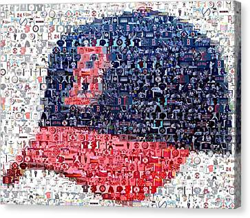 Boston Red Sox Cap Mosaic Canvas Print by Paul Van Scott