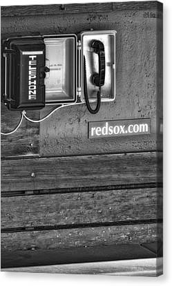 Boston Red Sox Dugout Telephone Bw Canvas Print by Susan Candelario