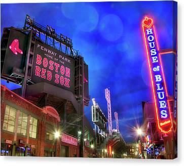 Boston Red Sox Fenway Park At Night  Canvas Print by Joann Vitali