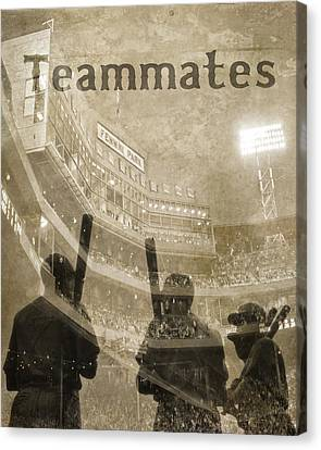 Vintage Boston Red Sox Fenway Park Teammates Statue Canvas Print by Joann Vitali