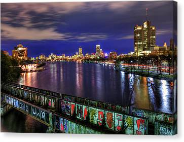 Boston Skyline And The Boston University Bridge Canvas Print by Joann Vitali