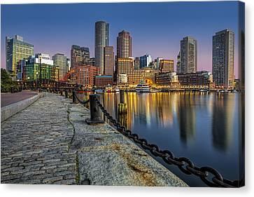 Boston Skyline Dawn Canvas Print by Susan Candelario