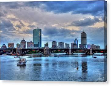 Boston Skyline On The Charles River At Dusk Canvas Print by Joann Vitali