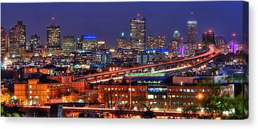 Boston Skyline Panoramic At Night Canvas Print by Joann Vitali