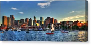 Boston Skyline Panoramic - Boston Harbor Canvas Print by Joann Vitali