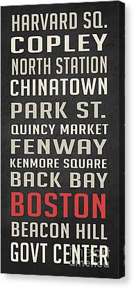 Boston Subway Stops Poster Canvas Print by Edward Fielding