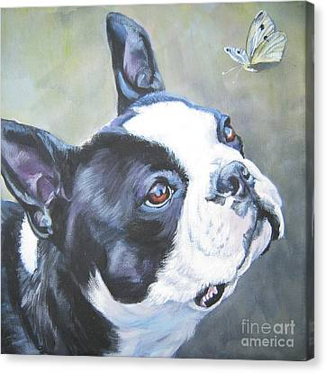 boston Terrier butterfly Canvas Print by Lee Ann Shepard