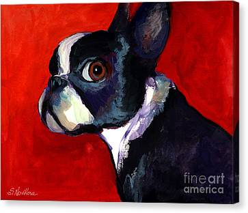 Boston Terrier Dog Portrait 2 Canvas Print by Svetlana Novikova